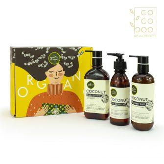 Комплект за цялостна грижа с натурален кокосов лосион за тяло, шампоан за коса и душгел