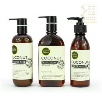 Натурален кокосов комплект с душ гел, лосион за тяло и шампоан