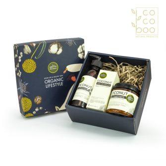 Натурален кокосов комплект с маска за коса, серум за коса и шампоан