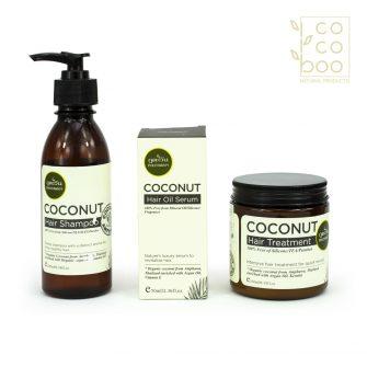 Подхранващ натурален комплект за цялостна грижа за косата с органично студено пресовано кокосово олио