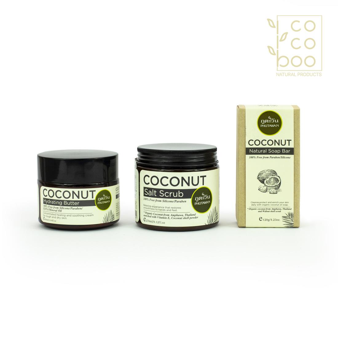 Натурален Кокосов Сет – Coconut SPA  - натурален кокосов крем, кокосов сапун и кокосова скраб за тяло