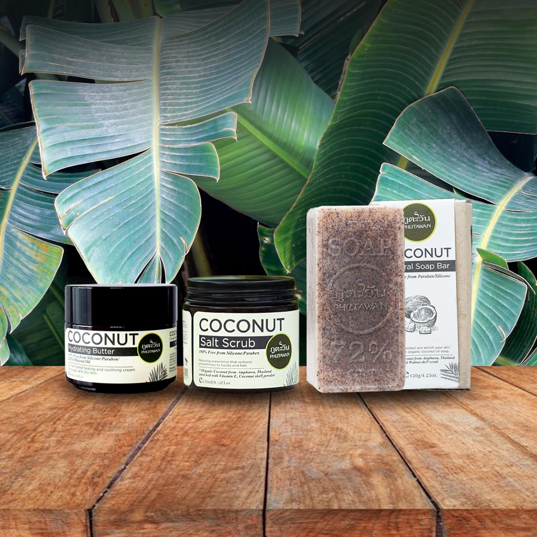 кокосов комплект - крем, скраб и сапун