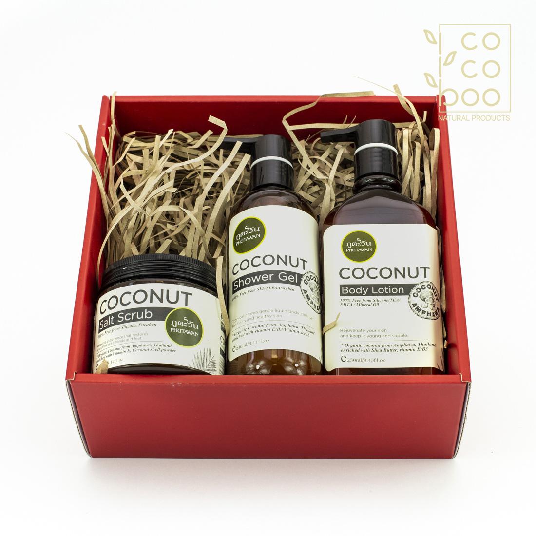 Натурален комплект Домашна Спа Терапия с натурален кокосов скраб, душ гел и лосион за тяло