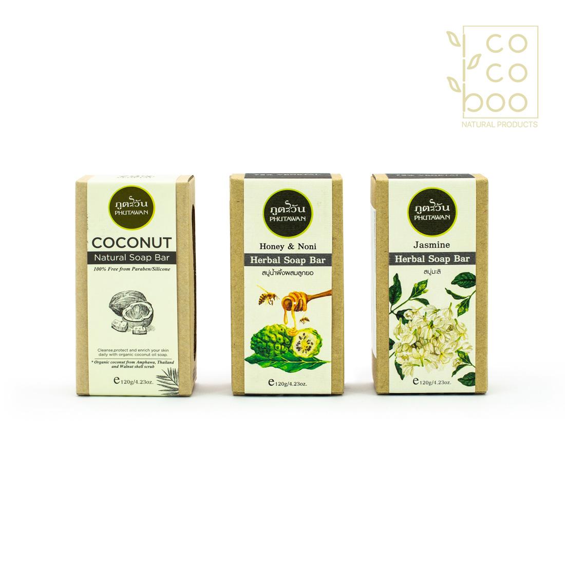 Комплект натурален кокосов сапун, натурален сапун с мед и нони и натурален сапун с екзотичен жасмин